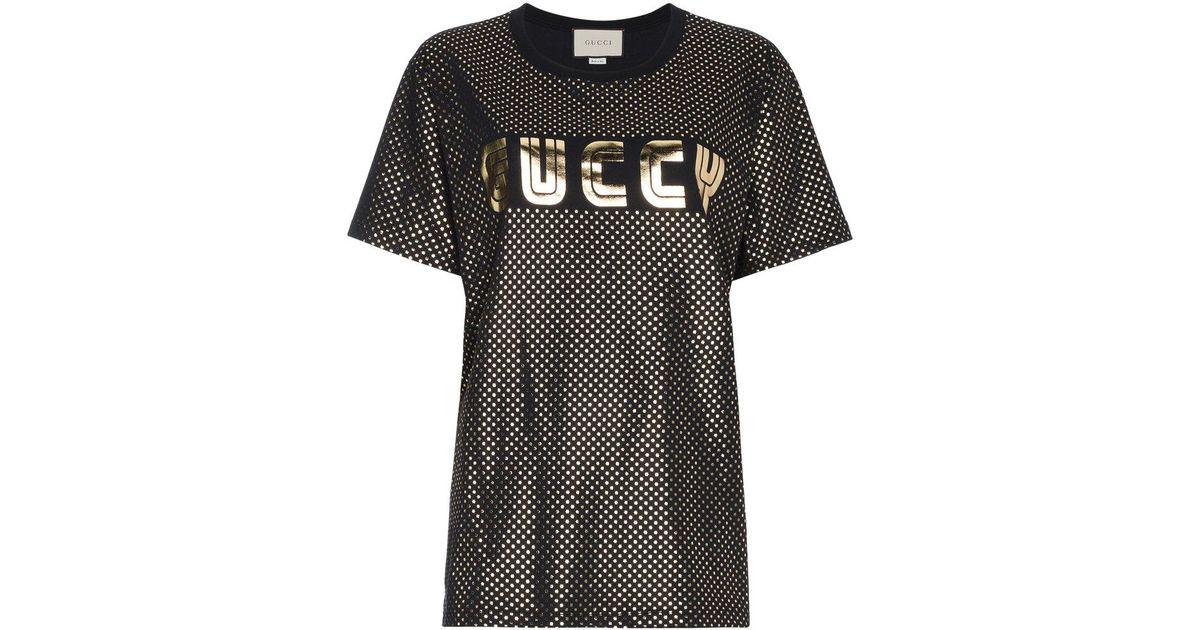 b050697c8fc5 Lyst - Gucci Gold Metallic Logo T-shirt in Black