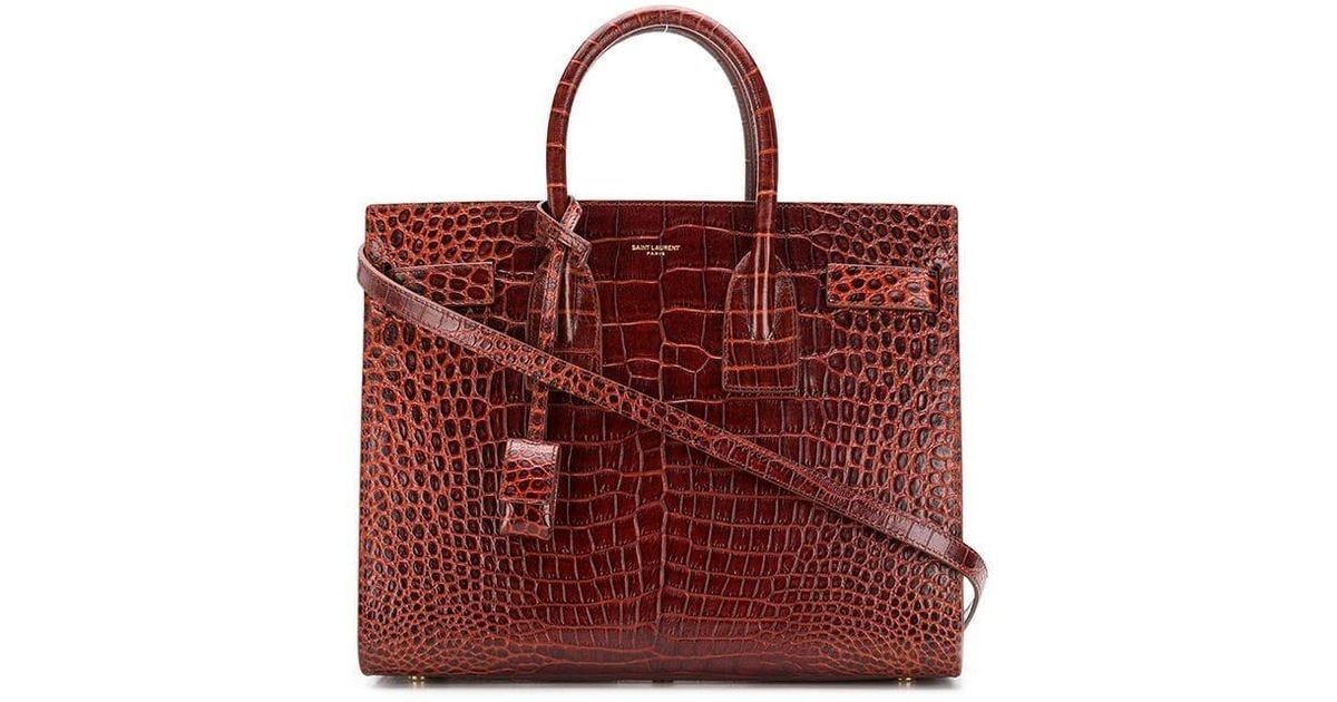 be9160908b Lyst - Saint Laurent Croc-print Tote Bag in Brown