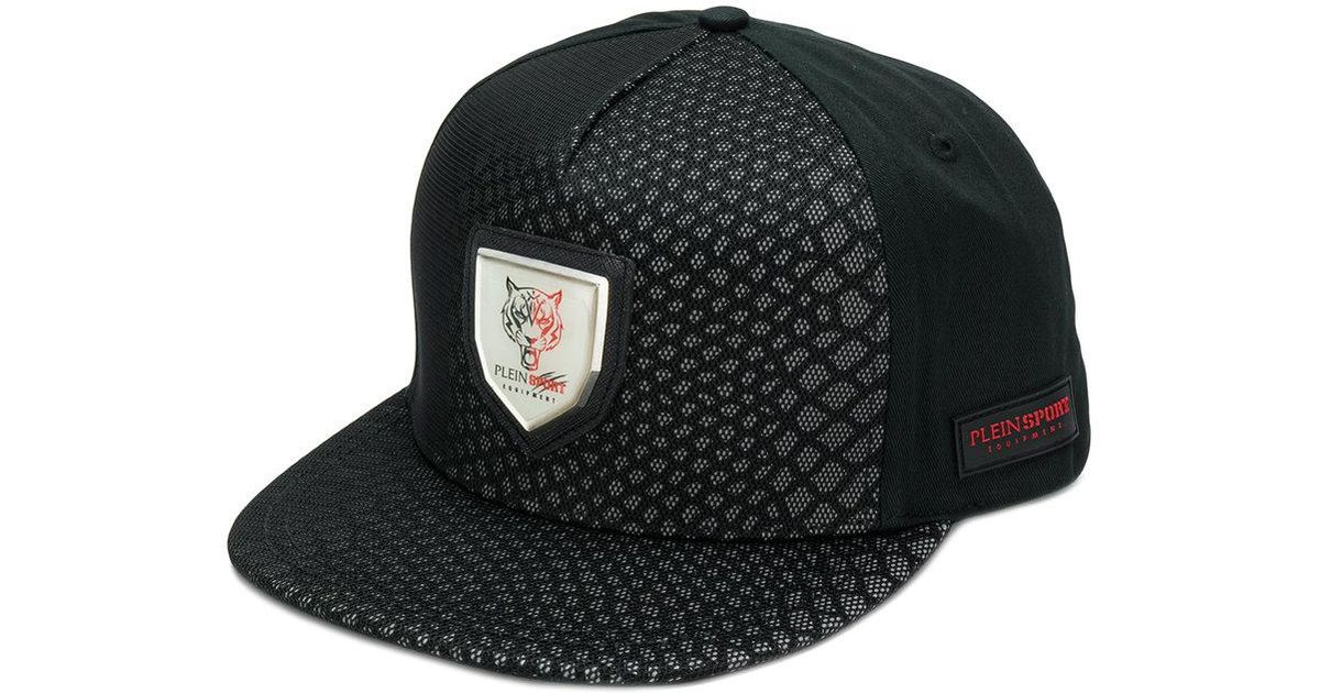 6f808eda576 Philipp Plein Printed Snapback Hat in Black for Men - Lyst
