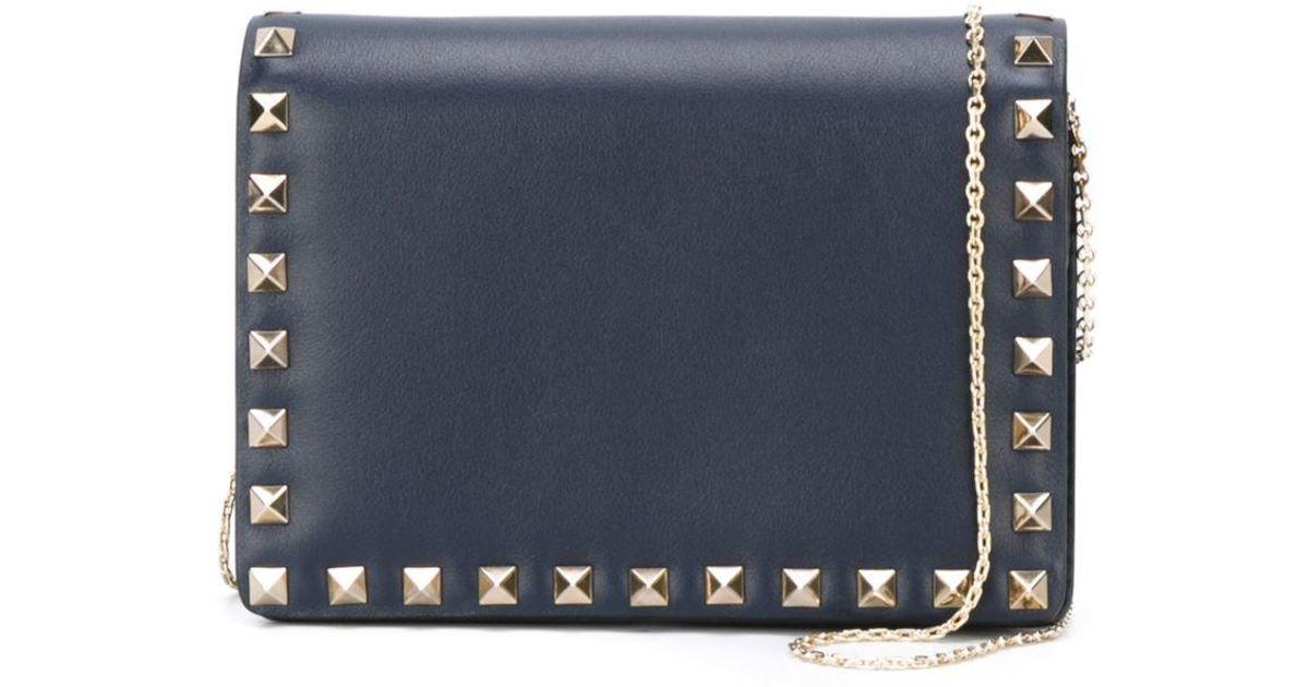 7eff410ac5 Valentino Garavani Rockstud Wallet On Chain in Blue - Lyst