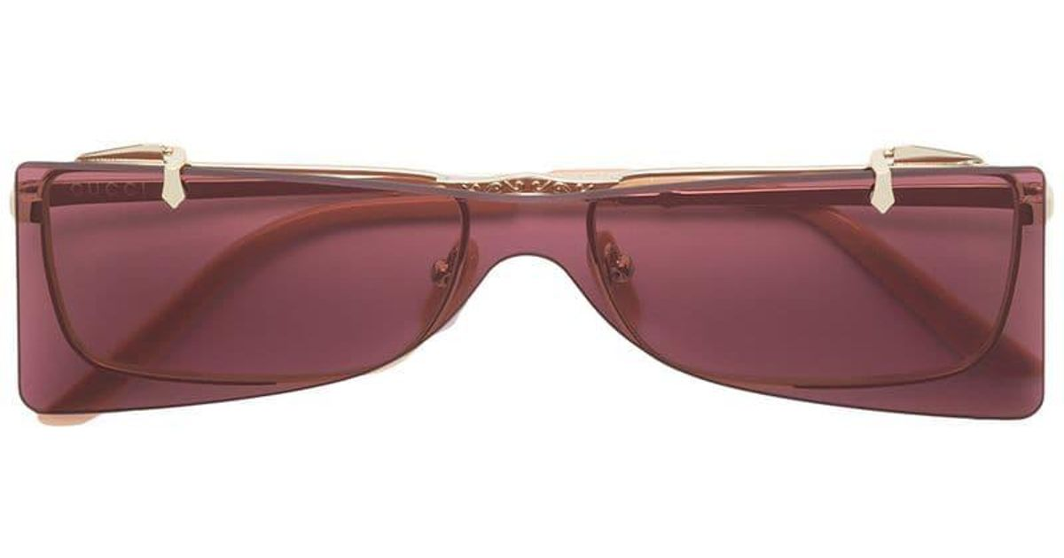 267bb21e124 Gucci Rectangular Glasses With Solar Protection in Metallic - Lyst