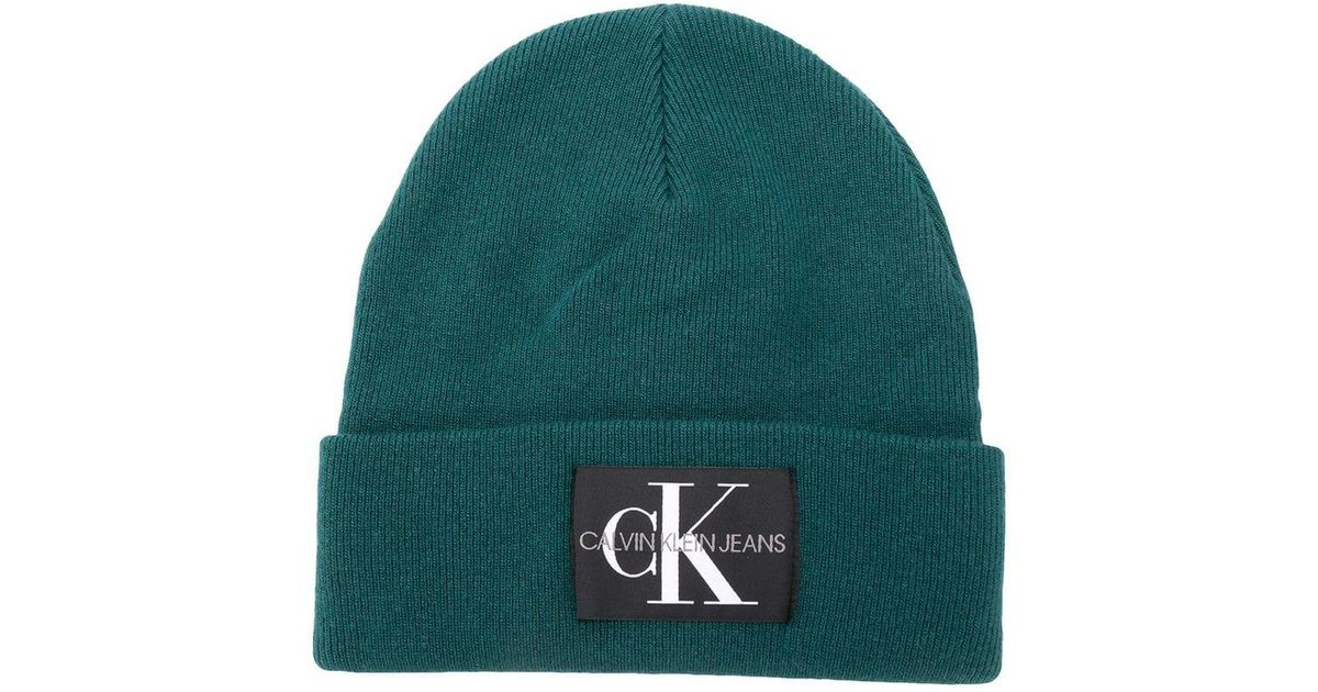 701df09ee20 Lyst - Calvin Klein Mens Logo Beanie Green in Green for Men