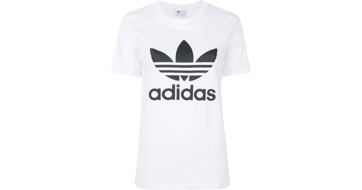 Adidas logo t shirt in white lyst for White adidas logo t shirt