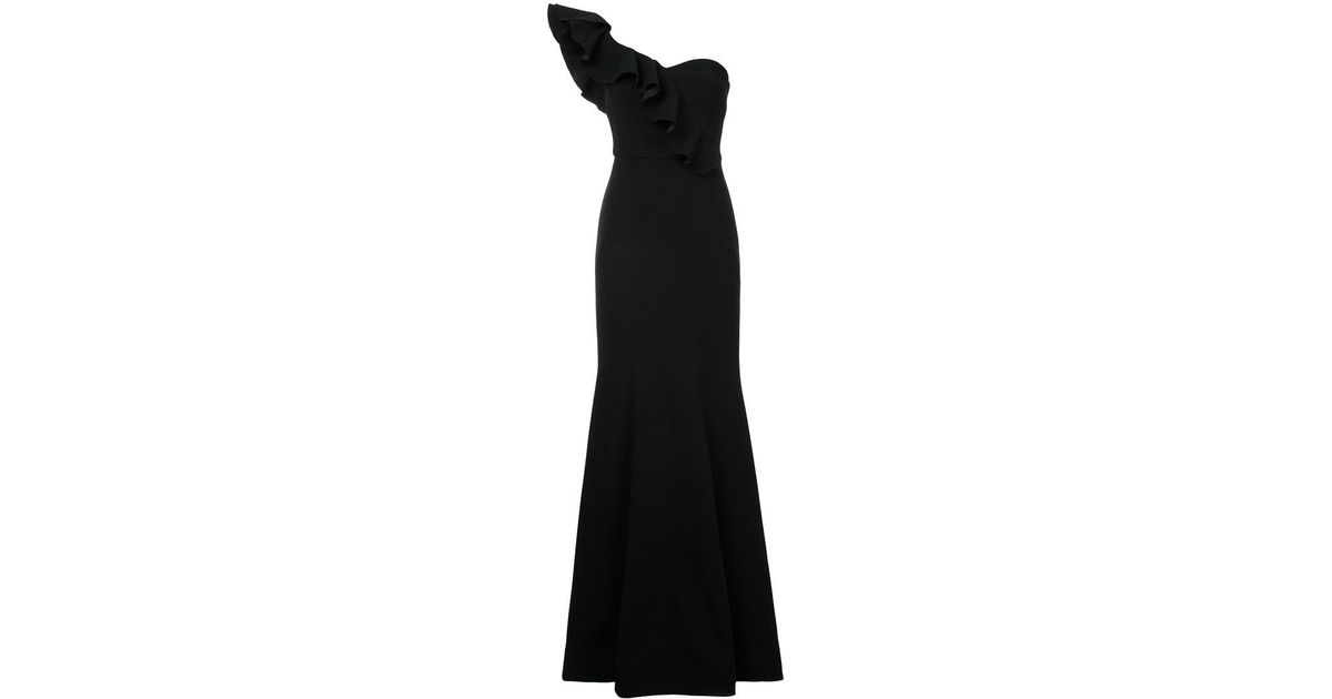 Gigi Ruffled One-shoulder Crepe Gown - Black Rebecca Vallance Get To Buy Online CLo1z