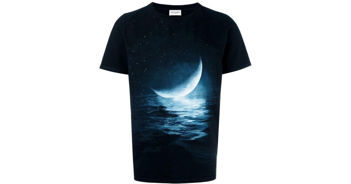 lyst saint laurent moon print t shirt in black for men