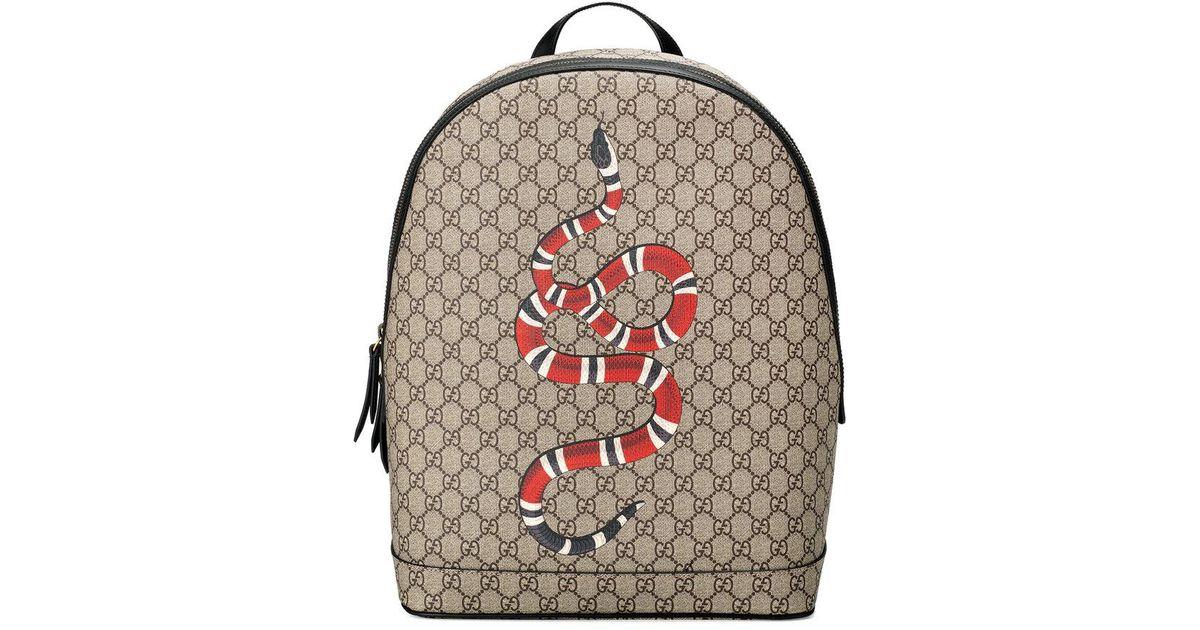 Lyst - Gucci Kingsnake Print Gg Supreme Backpack