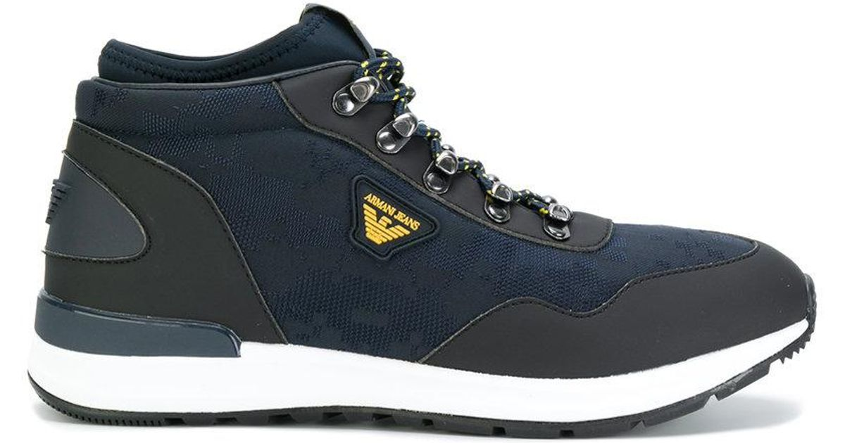 low-top mountain sneakers - Blue Armani Jeans W6gM6Dc