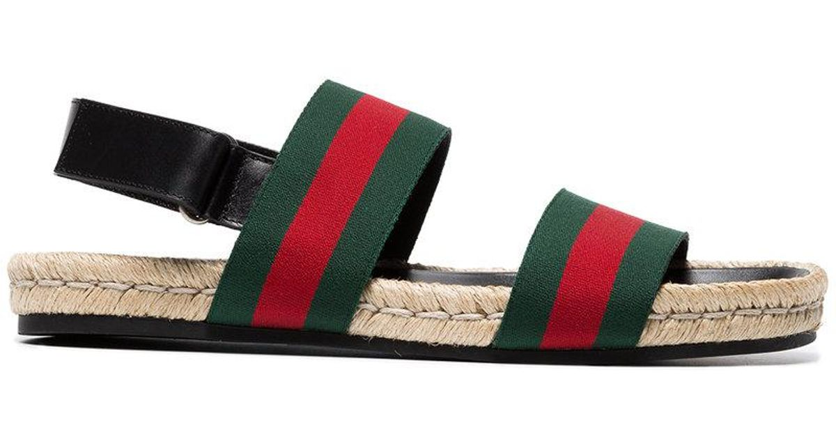 ac64ae9e3c1 Gucci Green And Red Web Sandals in Green for Men - Lyst