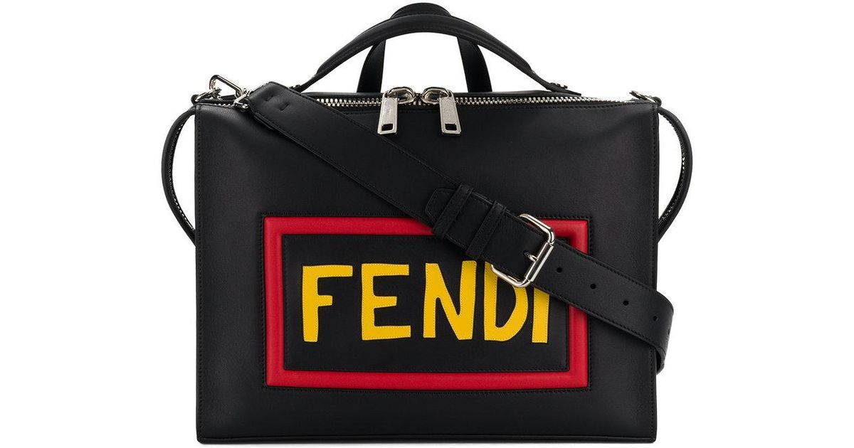 9084b5343361 Lyst - Fendi Logo Print Laptop Bag in Black for Men