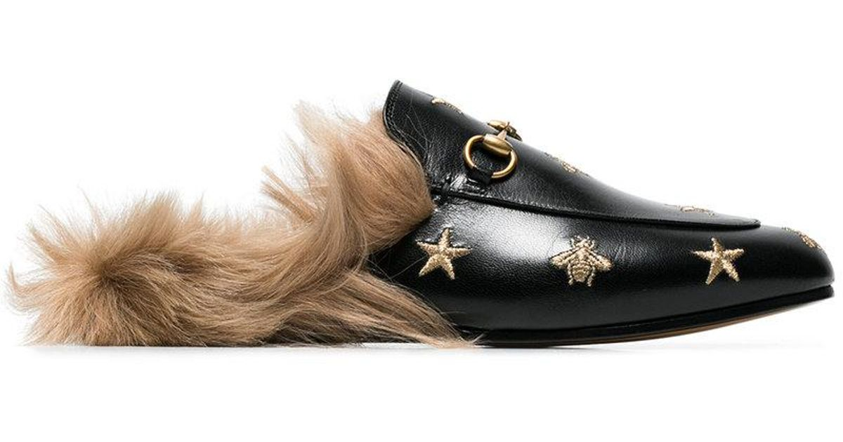 a69f53d0e34 Lyst - Gucci Princetown Bee And Star Embroidered Fur Lined Loafers in Black