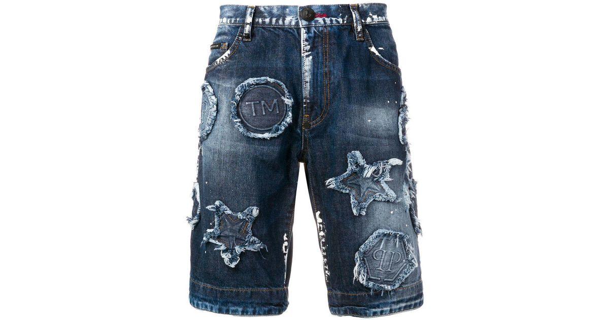 627fd8acb7 Lyst - Shorts vaqueros envejecidos con parche Philipp Plein de hombre de  color Azul