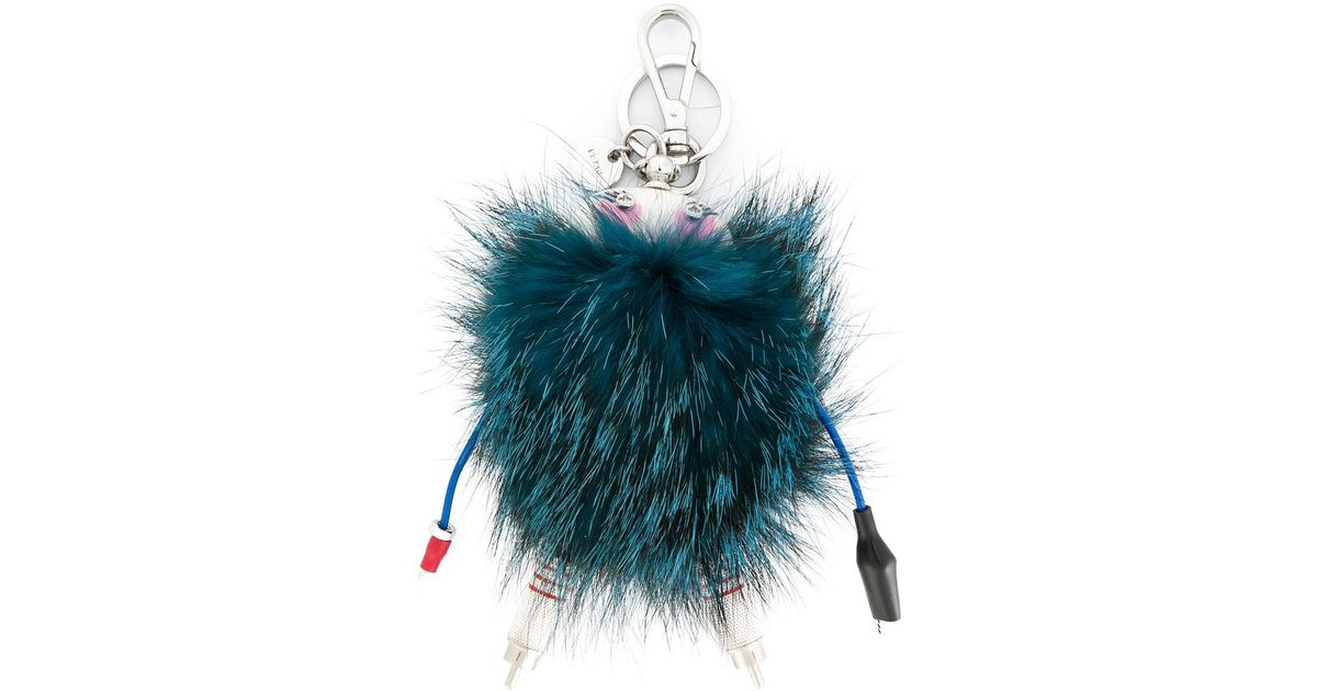 Prada mink fur keyring - Blue HW6w1LX3