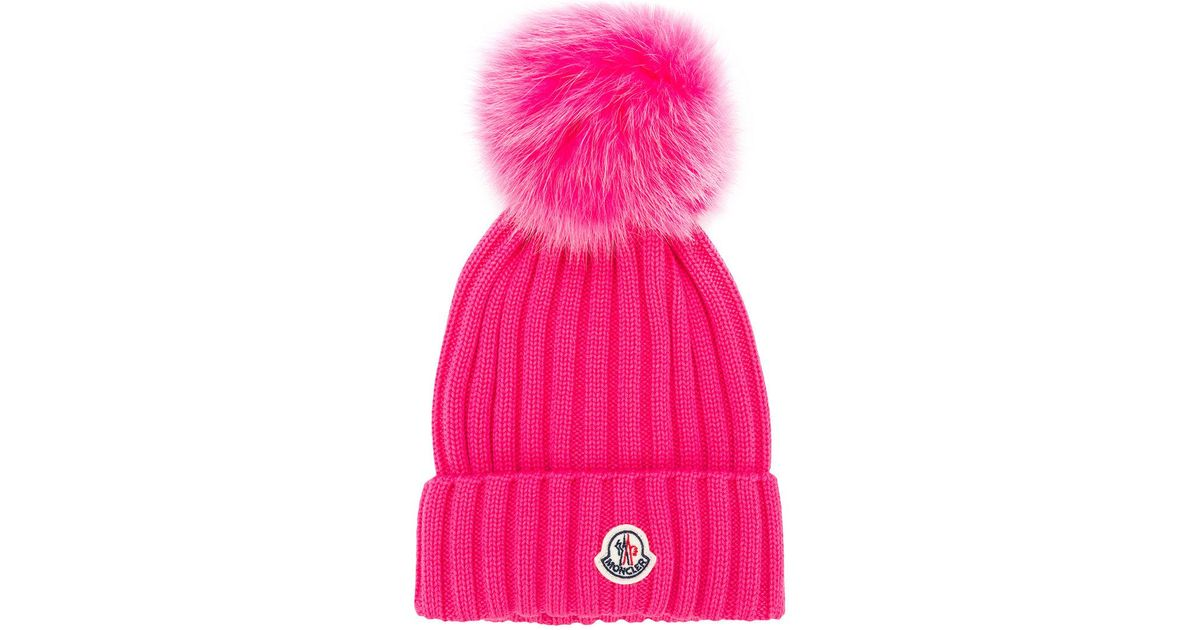 Lyst - Moncler Pom Beanie in Pink d06c3ce2015