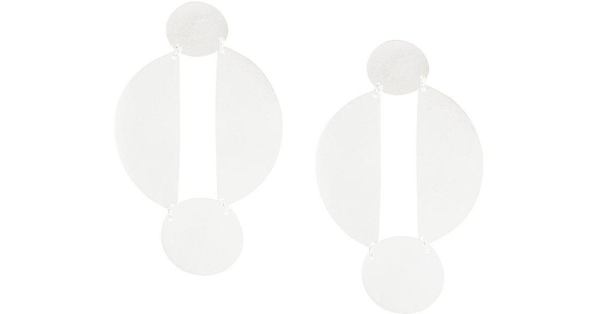 Longues Boucles D'oreilles Cercle Divisé - Annie Métallique Marron Costello CXv0359w8