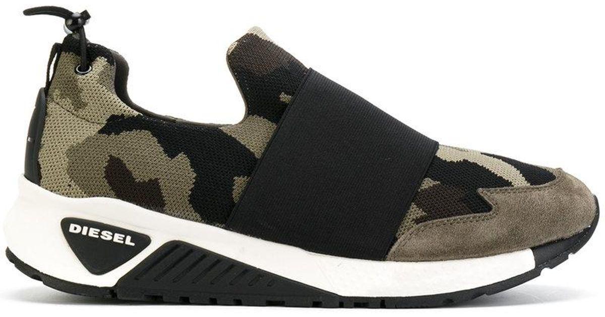 4bddf0f6408d7 Lyst - DIESEL Camouflage Print Sneakers in Green for Men