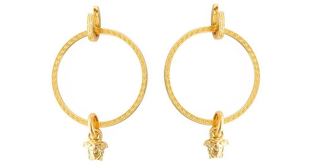 bcd08cc27 Versace Medusa Hoop Earrings in Metallic - Save 40% - Lyst