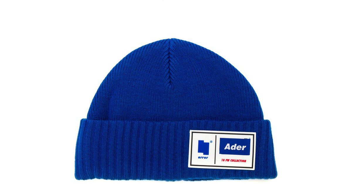 39a57d9830b Lyst - ADER error Logo Patch Beanie in Blue