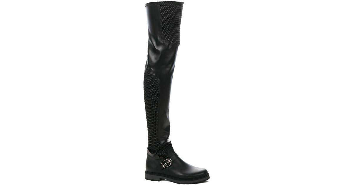 97fe3f63ba7 Lyst - Fendi Smocked Thigh High Boots in Black