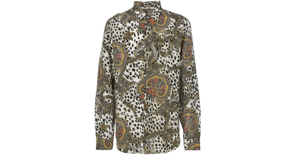 5c546f05 Roberto Cavalli Leopard Paisley Print Shirt in White for Men - Lyst