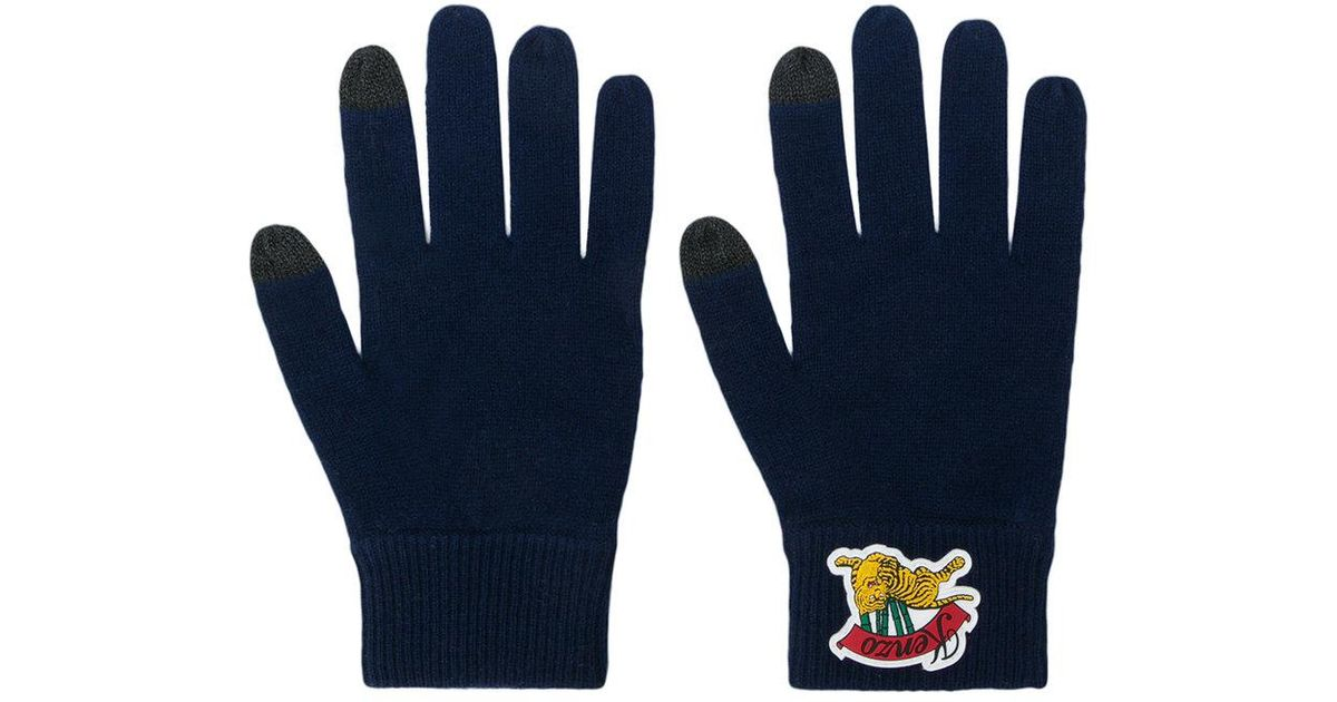 45e0ebdc1ab Lyst - KENZO Logo Embroidered Gloves in Blue for Men
