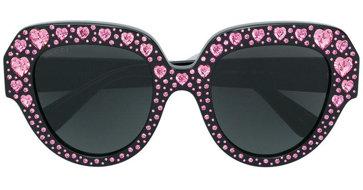 cd1d642582 Gucci Crystal Heart Embellished Oversized Sunglasses in Black - Lyst