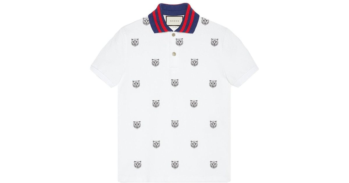 9ee0c65d028b Gucci Cotton Polo With Tiger Head Embroidery in White for Men - Lyst