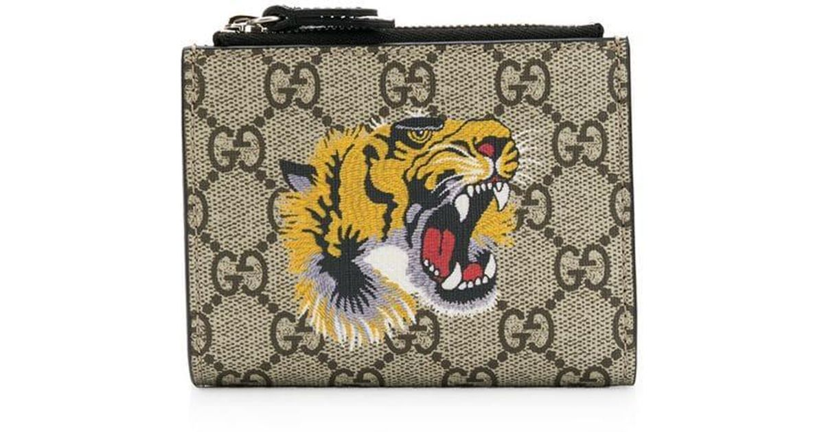 295a26b3061d Gucci Tiger Print GG Supreme Wallet in Brown for Men - Lyst