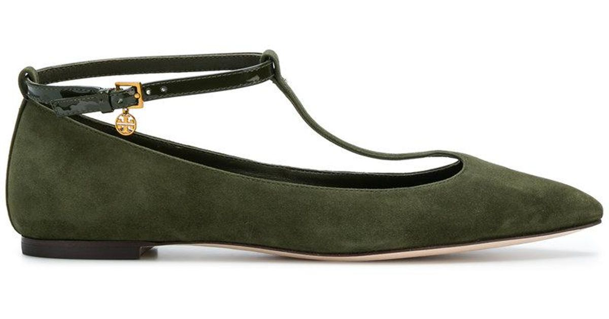 407b09f24312c7 Lyst - Tory Burch Mary Jane Pointed Ballerinas in Green