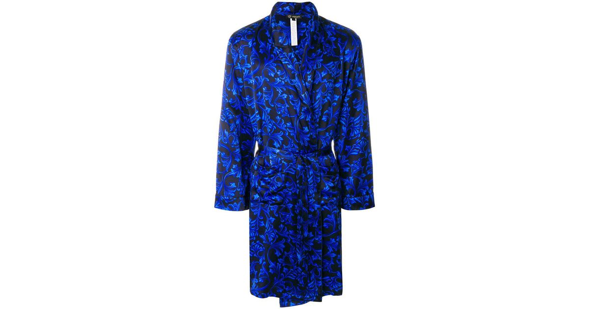 Lyst - Versace Baroque Print Dressing Gown in Blue for Men
