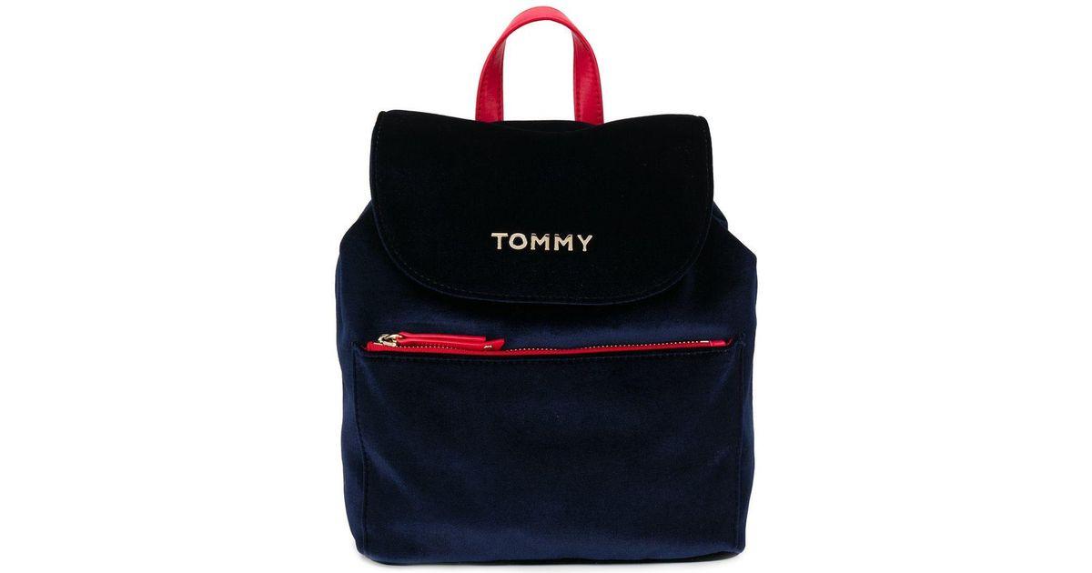 0c14faeb59 Sac à dos en velours Tommy Hilfiger en coloris Bleu - Lyst