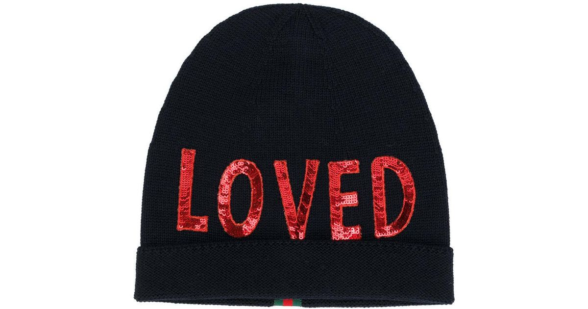 38c887054ce3d Gucci Loved Beanie in Blue - Lyst