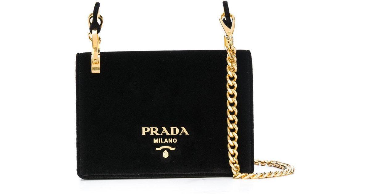 36d07bab147 Prada Velvet Pattina Bag With Gold Chain in Black - Lyst