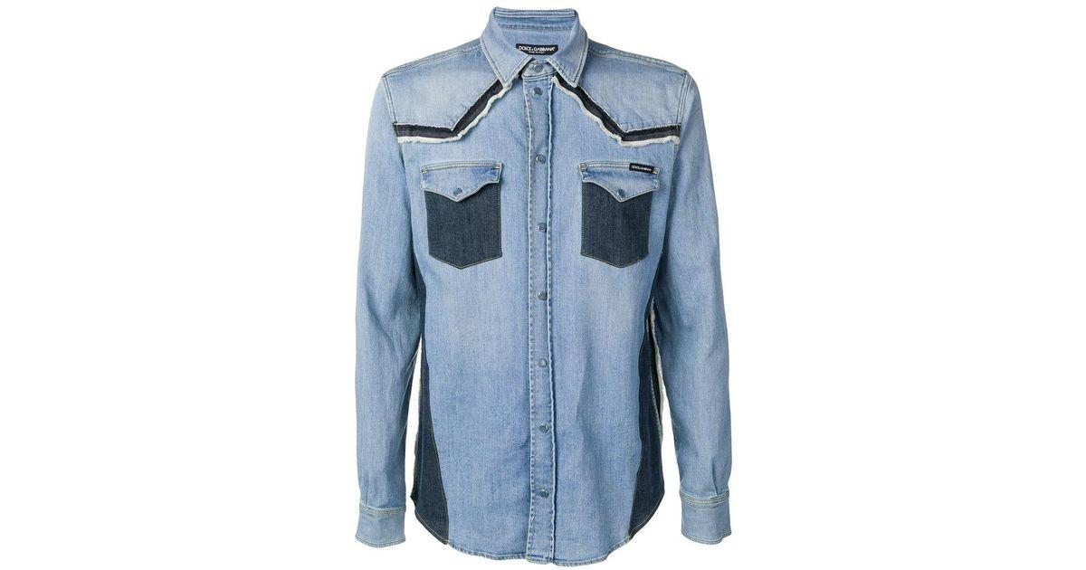 4808d52d08 Lyst - Dolce   Gabbana Constructed Denim Shirt in Blue for Men