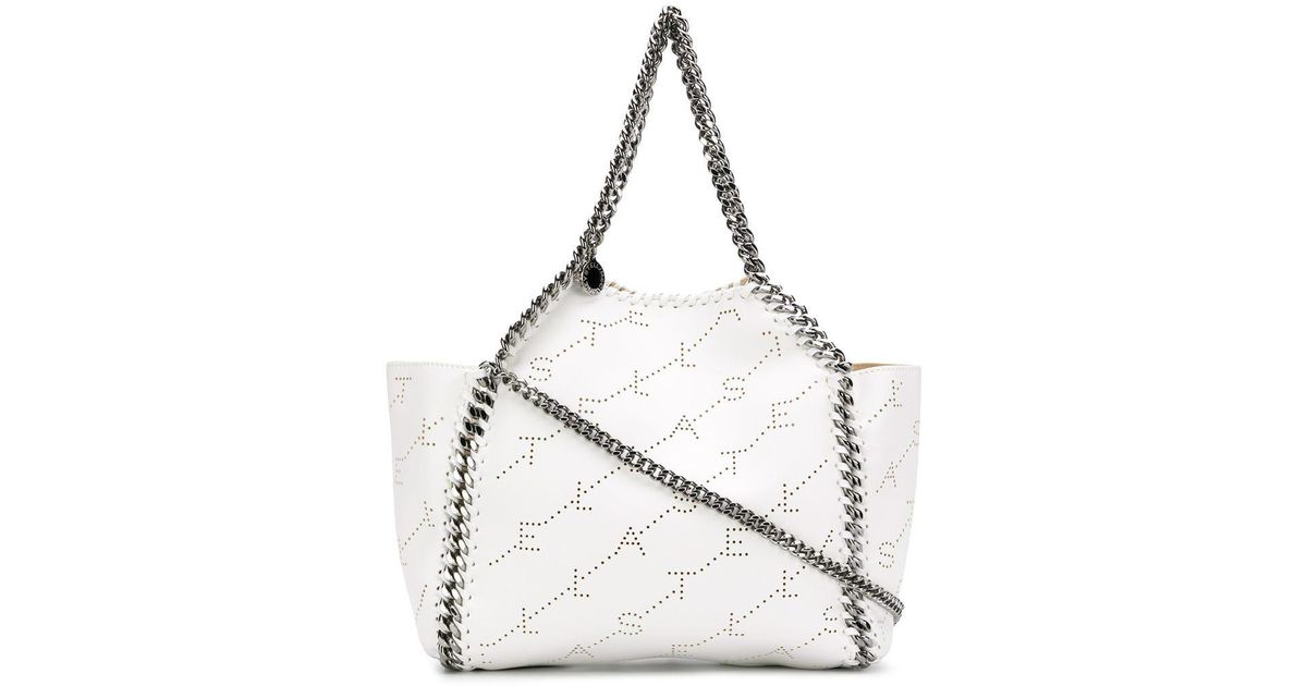 Stella McCartney Logo Perforated Falabella Shoulder Bag in White - Lyst 30729bf4f285c