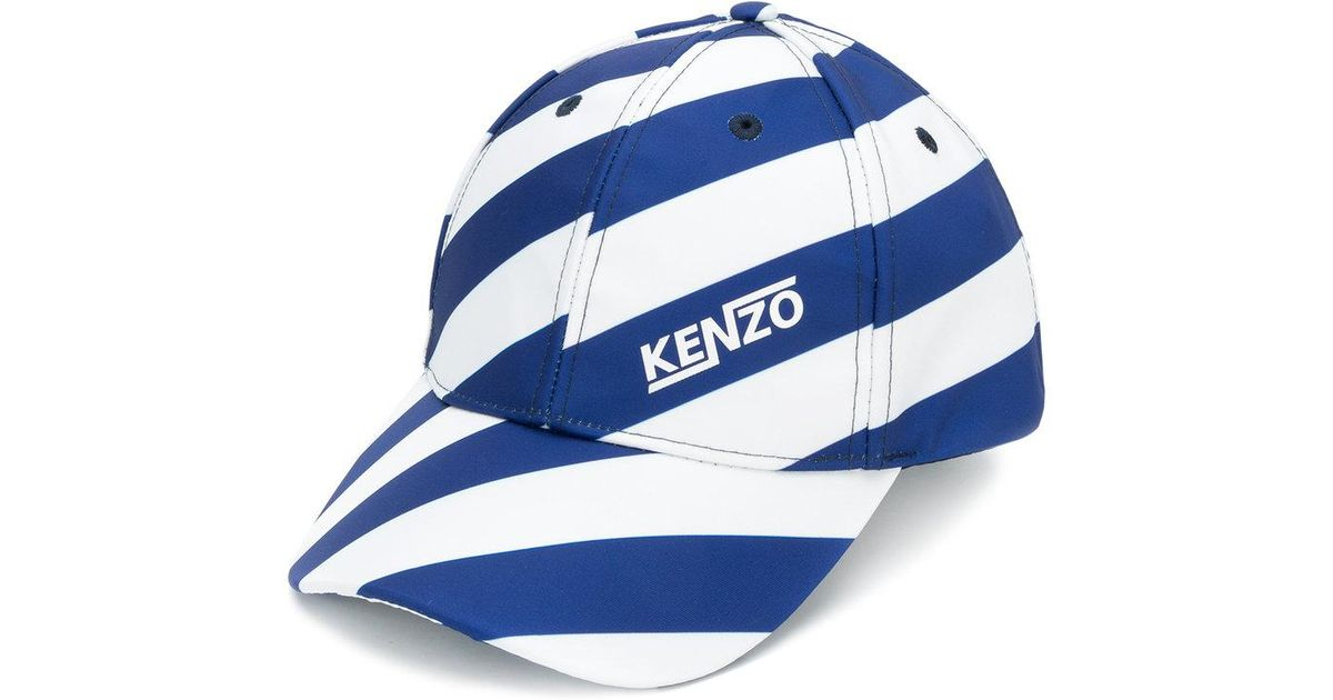 f6fe3743 KENZO Hyper Striped Baseball Hat in Blue for Men - Lyst