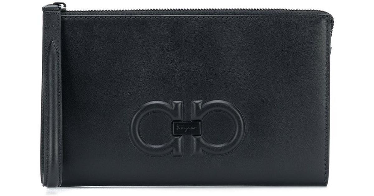 907670e5ea Lyst - Ferragamo Textured Gancio Clutch in Black for Men