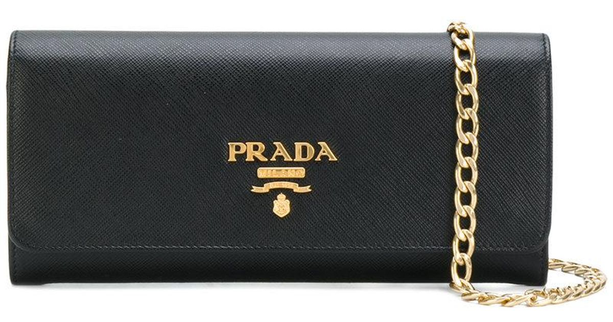 9ef680ebf3c2 Lyst - Prada Logo Plaque Baguette Clutch in Black