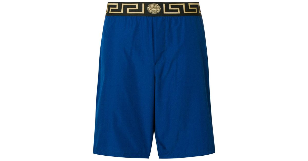5724c09c57d1 Versace Greek Key Waistband Swim Shorts in Blue for Men - Lyst
