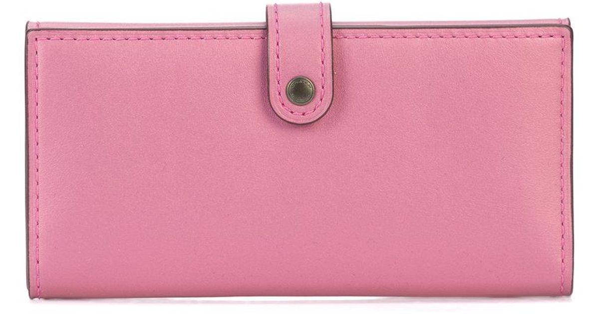 041769cdcef6 Lyst - Coach Slim Trifold Wallet in Pink