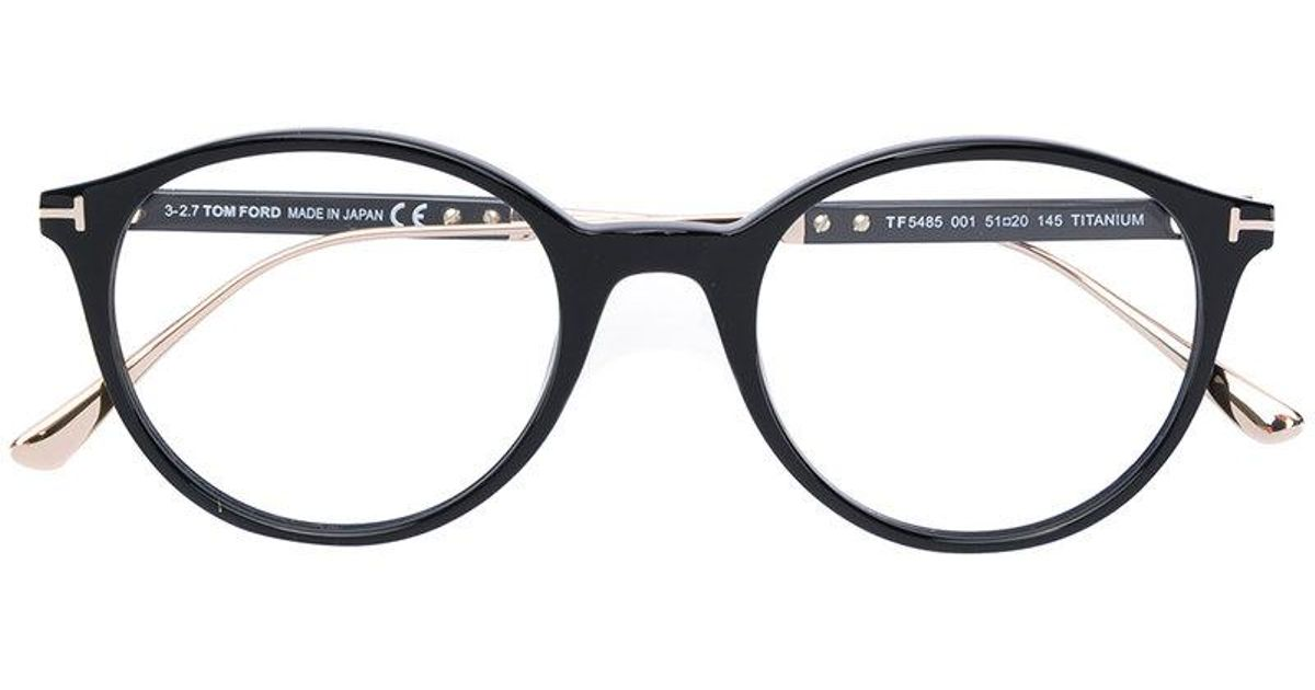 0dba153de0 Tom Ford Round Frame Glasses in Black - Lyst