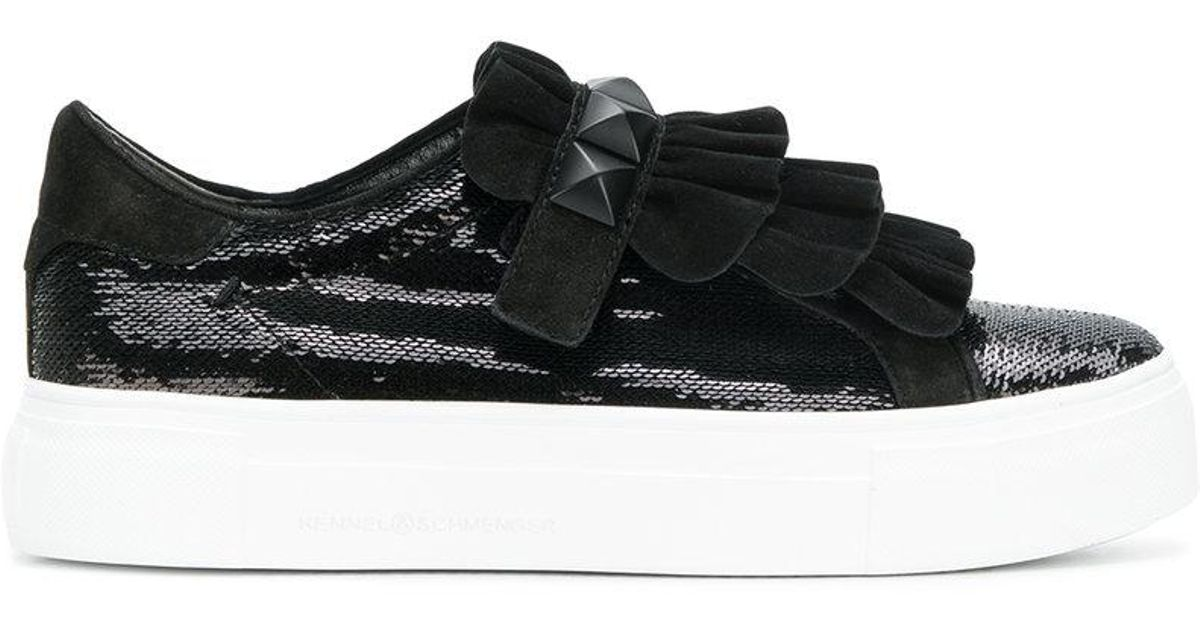 sequin and ruffle trim platform sneakers - Black Kennel & Schmenger
