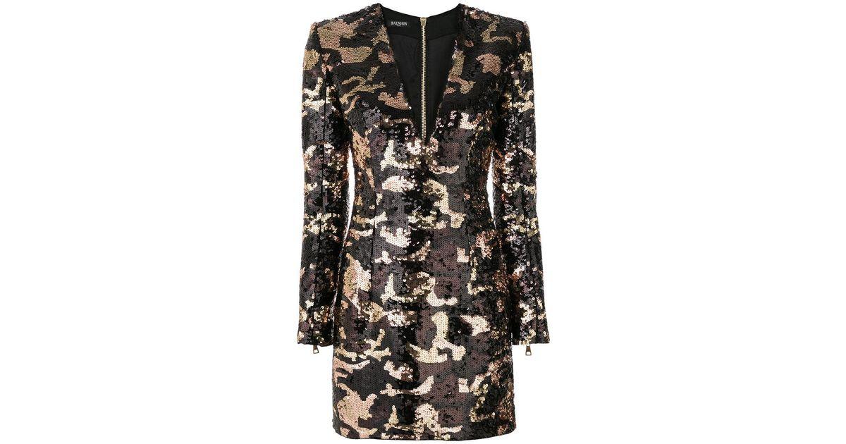 camouflage sequin dress - Black Balmain Sale 2018 For Cheap Buy Cheap Big Sale Cheap Sale Very Cheap GrMgG8q