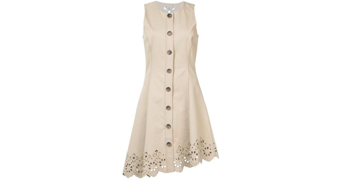 4b32e77a86a42 Lyst - 10 Crosby Derek Lam Sleeveless Button Down Dress With Scalloped Hem  in Natural
