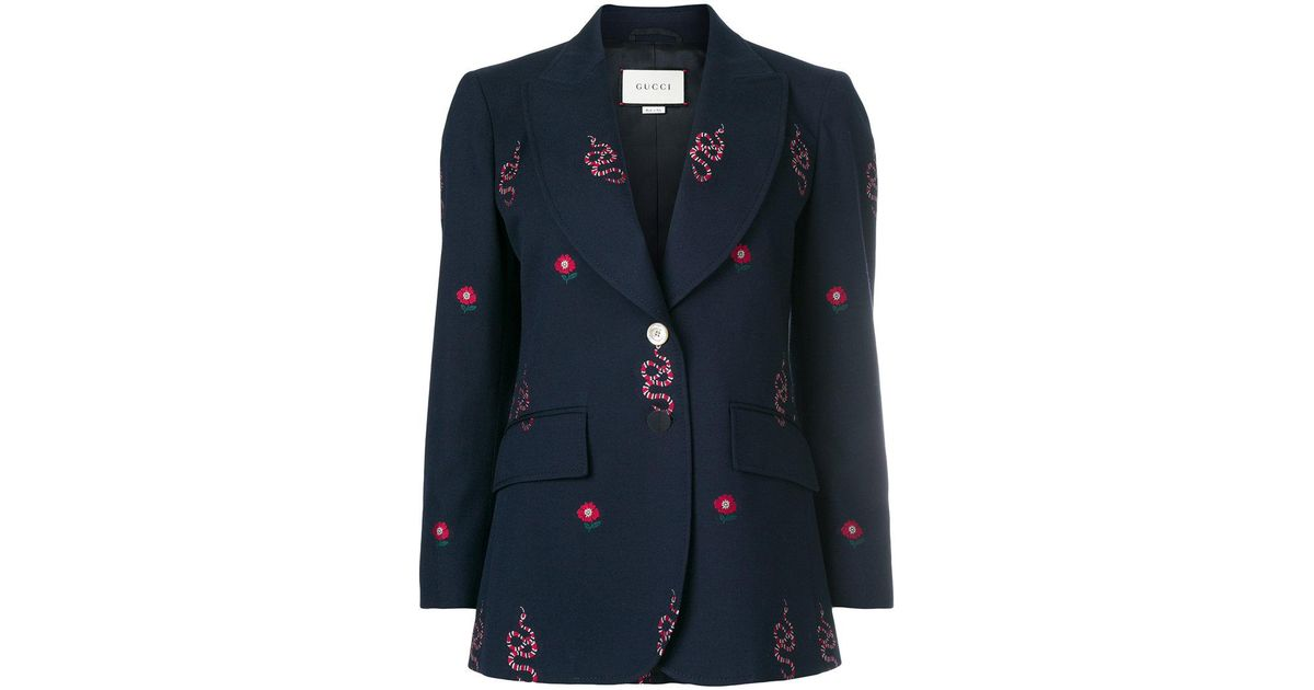 4b5c32781 Gucci Kingsnake And Floral Embroidered Jacket in Blue - Lyst