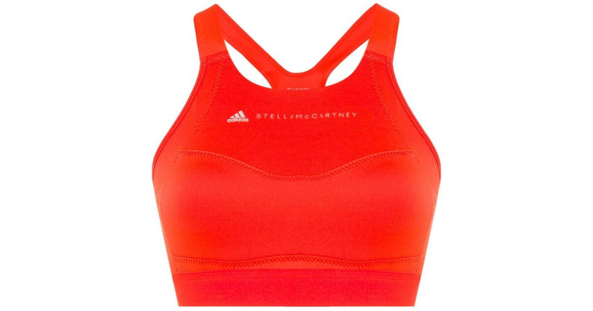 db2c00718d Lyst - adidas By Stella McCartney Performance Essentials Bra Top in Orange