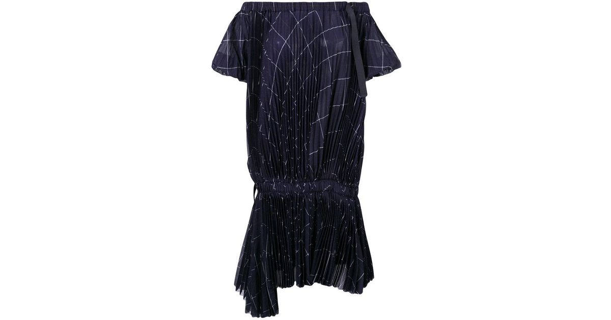 437c669fa9 Lyst - Sacai Grid Print Pleated Off-the-shoulder Dress in Blue