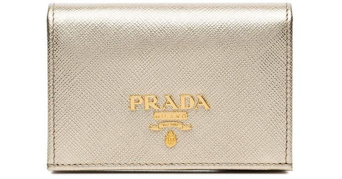 3a7d10e3d66d ... new style lyst prada metallic gold logo saffiano leather wallet in  metallic 5d877 4ecb9 ...