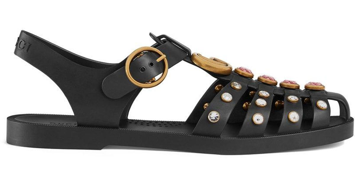 Rubber sandal with crystals - Black Gucci YLXhJTp13