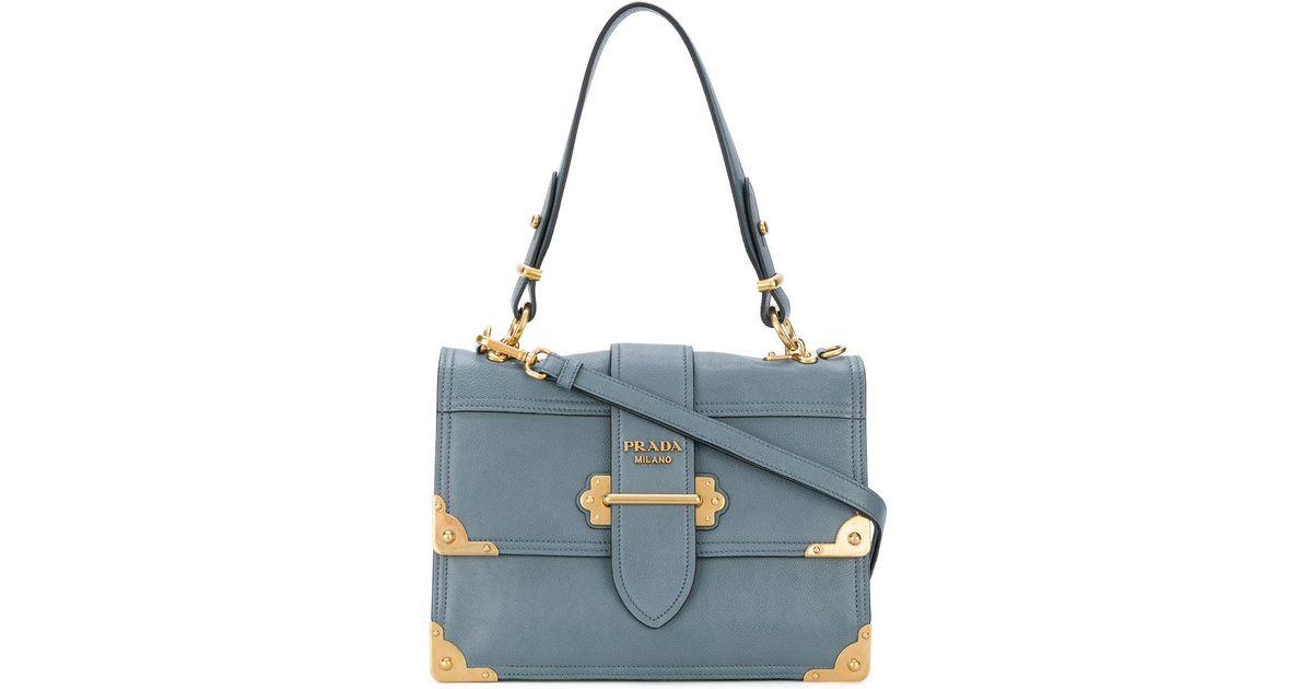 ... shopping prada cahier shoulder bag in blue lyst 98ec9 8772e 6603c067ed8bf