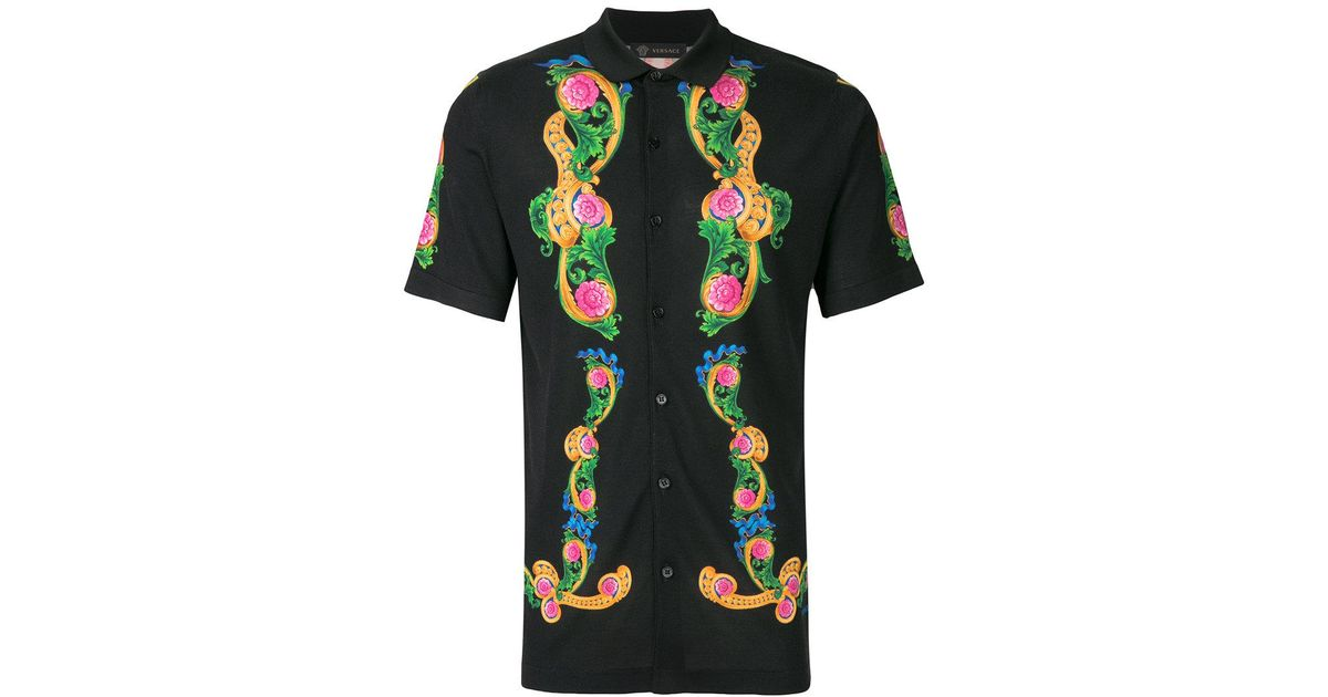 2c821633 Versace Beverly Palm Print Shirt in Black for Men - Lyst